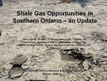 2009 OPI Presentation on Ontario Shale Gas Opportunities