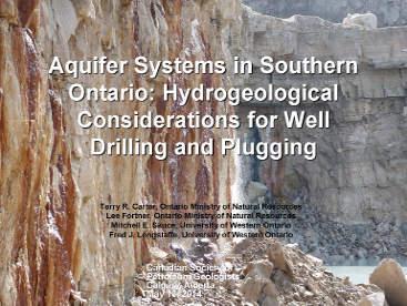 Aquifer Systems in Southern Ontario - Carter, Fortner, Skuce, Longstaffe